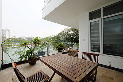 Westlake view 3-bedroom apartment with large balcony on Quang An street